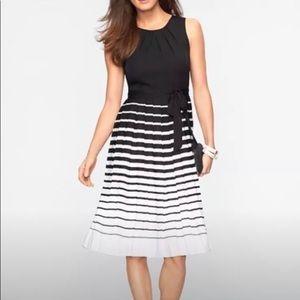 Talbots black white striped pleated dress 6